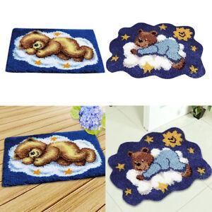 2 Bären Knüpfset, Latch-Hook Kit, Teppich zum Selber Knüpfen