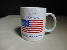 New listing Nurses Caring For America Mug Cup Nursing Usa American Flag Patriotic Americana