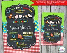 FARM ANIMALS PARTY BABY SHOWER PERSONALISED INVITATIONS CUSTOM INVITES CARD BOY
