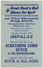 Screaming Lord Sutch Impalas The Houseshakers The Hound Dog Club Flyer 1972