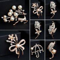 Fashion Flower Leaf Sunflower Pearl Crystal Brooch Pin Women Wedding Jewelry
