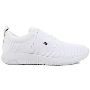 TOMMY HILFIGER Mens Corporate Knit Running Style Trainers White