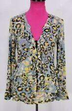 V Cristina Blouse Size M Women's Gray Yellow Animal Print Tiered Ruffle V-Neck