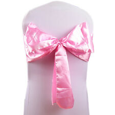 Pack of 5 Satin Chair Cover Bow Sash for Wedding / Party UK SELLER Baby Pink 1