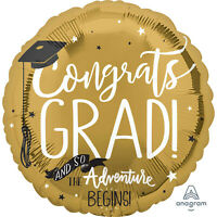 "Graduation The Adventure Begins 18"" Foil Balloon"