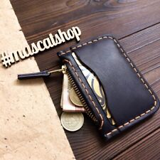 Compact Handmade genuine leather wallet zip card holder coin