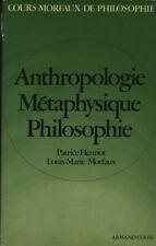 Livre anthropologie métaphysique philosophie 1977 P Henriot L M Morfaux book