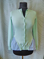 🔻Carven Women's Mint Green Contrasting Cardigan Cotton Long Sleeve Size S