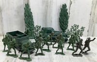 20 Piece Lot - Vintage Toy Plastic Soldiers Tank Armored Car Trees WW2 Army Men