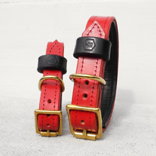 Luxury Red Bridle Leather Dog Collar With Padded Lining