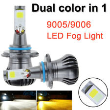 2pcs Dual Color 9006 LED Bulbs Car Fog Lights DRL Driving Yellow White Kit