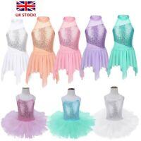 UK Girls Sequins Ballet Dance Dress Gymnastics Leotard Ballroom Stage Costume