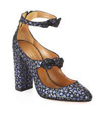 Aquazzura Sandy Pumps Tie Up Bow Floral Navy Blue Black LEATHER Size 37 / 7 New