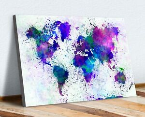 BLUE ABSTRACT WORLD MAP PAINT SPLATTER CANVAS WALL ART PRINT ARTWORK 30MM DEEP