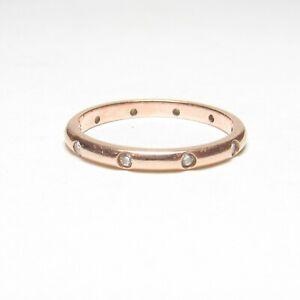 Estate 14K Rose Gold Ten Round Brilliant Cut Diamond Eternity Band Ring 0.15 Cts