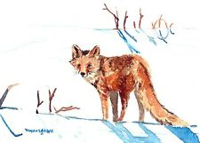 ACEO Limited Edition of watercolor- A fox in snow fields, Gift for animal lover