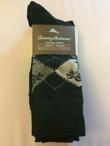 NWT TOMMY BAHAMA One Size Men's Black Assorted TB Logo Casual Crew Sock 4 Pairs