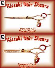 """Kissaki Hair Scissors 7.0"""" & 30t Rose Gold Red Double Swivel Hair Shears Combo"""