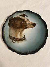 "Antique Dog Whippet w/Collar Portrait transfer Plate V S China Porcelain 9.5"""