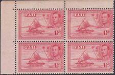 FIJI KGVI 1938 Issue 1 1/2d SG251 2xNH + 2xLH Mint Block of 4 cv £68