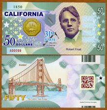 USA States, California, $50, Polymer, ND (2017), UNC > Robert Frost