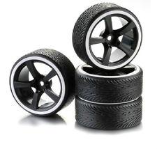 5 Spoke Drift Wheel & Tyre Set For RC Cars 1:10 Scale Black & White 2510047