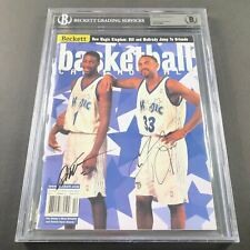 Grant Hill Tracy McGrady signed Beckett Magazine BAS Encapsulated