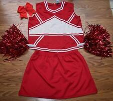 CHEERLEADER COSTUME OUTFIT HALLOWEEN RED/WHITE 2X 14-16 UNIFORM LADIES SET