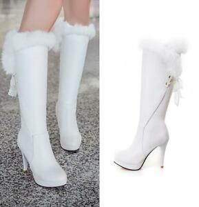 Womens Platform Knee High Boots Fur Trim Lace Up Stiletto High Heels Party Shoes