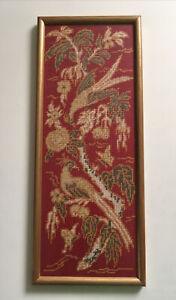 Vintage French Framed Hand Stitched NeedlePoint Birds Tapestry Shabby Chic
