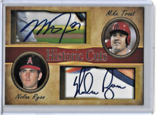 Mike Trout Nolan Ryan Custom Historic Cuts Dual Facsimile Autographs
