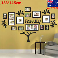 1 Set Photo Frame Family Tree Picture Collage Wall Art Hanging Home Decor Black