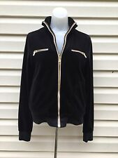 Juicy Couture Black Velour Track Suit Jacket Sweatshirt Gold Front Zippers-Small