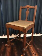 Antique~Sewing Chair~Vanity~Stool~Wood~Vintage