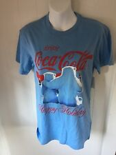Coca-Cola Happy Holidays T Shirt unisex Adult Size Small 34/36  Polar Bear Blue