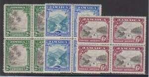 A4803: Jamaica #106-108 Mint Blocks, NH; CV