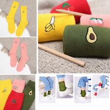 Women Cartoon Fruit Hosiery Warm Soft Cotton Elastic High Knitting Socks Novelty