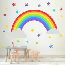 Rainbow Wall Art vinyl sticker Colourful Stars Kids Room Decor Decal Transfer