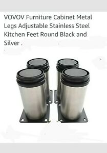 """4-Pack Stainless Steel Furniture Legs, Adj. Replacement Feet Sofa Cabinets (6""""H)"""
