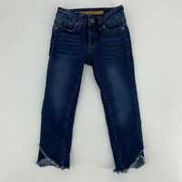 Joe's Jeans Toddler Girls Denim Rawn Unfinished Hem Size 4 Adjustable Waist N8