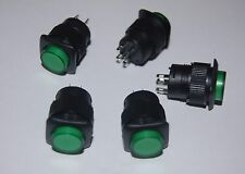 5PCS 16MM Green Maintained Plastic PUSH BUTTON 3V Neon ILLUMINATED LED  4 PINS