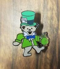Grateful dead dancing bear green mad hatter pin lapel festival 420