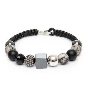 Mens Unique Bracelet Black Map Picasso Jasper Agate Hematite Gemstones