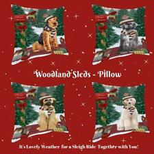 Christmas Woodland Sled Dog Cat Pet Lovers Throw Decorative Pillow 14x14 In