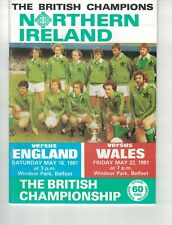 NORTHERN IRELAND v ENGLAND AND VERSUS WALES May 16th and 22nd 1981