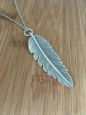 Large Feather Necklace Feather Pendant Long 24""