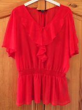 Star By Julien Macdonald Red Chiffon Blouse Cold Shoulder Sheer Smart Size 10
