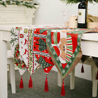 Embroiderd Christmas Table Runner Tablecloth Cover Home Xmas Party Table Decor