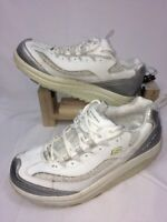 Skechers Shape Ups Walking Toning Shoes White/Silver 12307 Womens Size 9