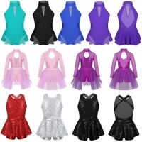 Girls Ballet Jazz Modern Dance Leotard Dress Shiny Sequined Performing Costume